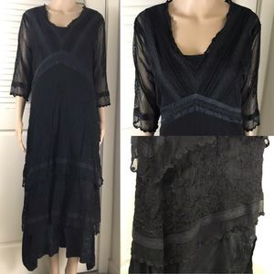 Vintage Black Lace Gothic Stevie Nicks Midi Dress